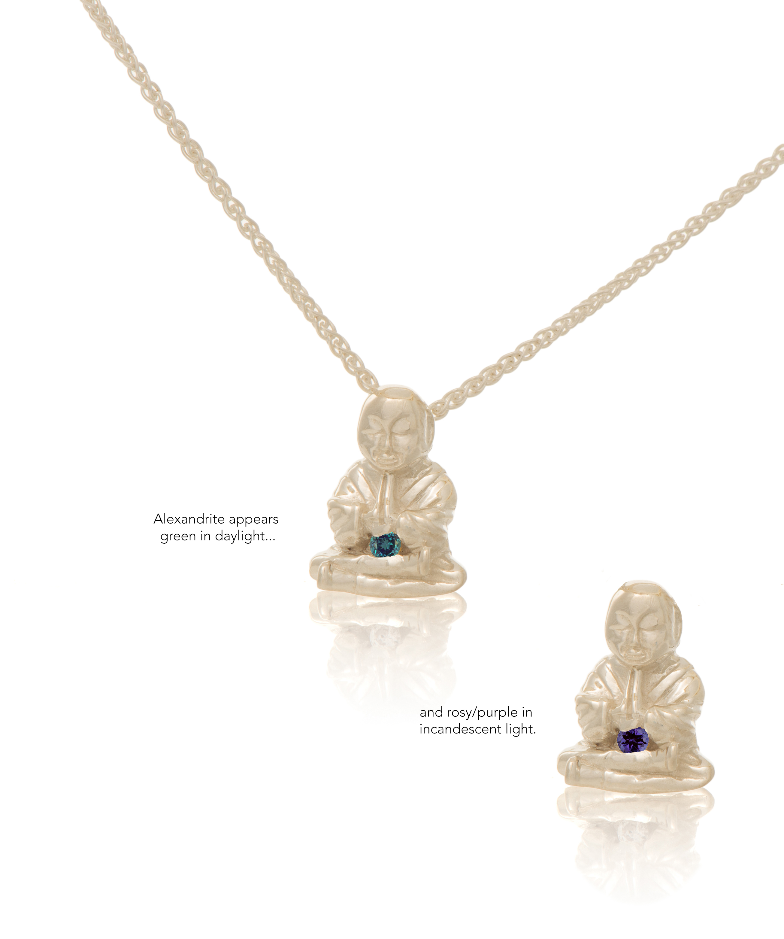 Silver Peaceful Buddha with Alexandrite
