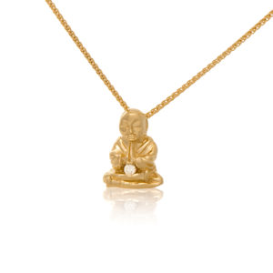 14K Yellow Gold Peaceful Buddha with Diamond