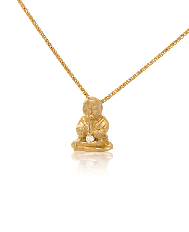 Yellow Gold Peaceful Buddha Buddy wth Diamond