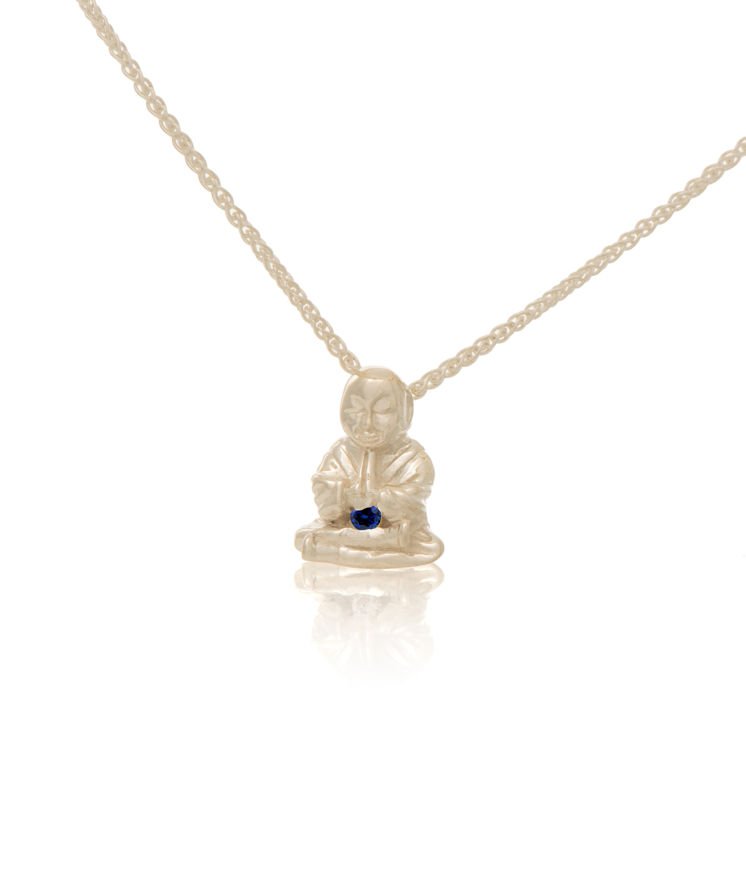 Silver Peaceful Buddha with Sapphire