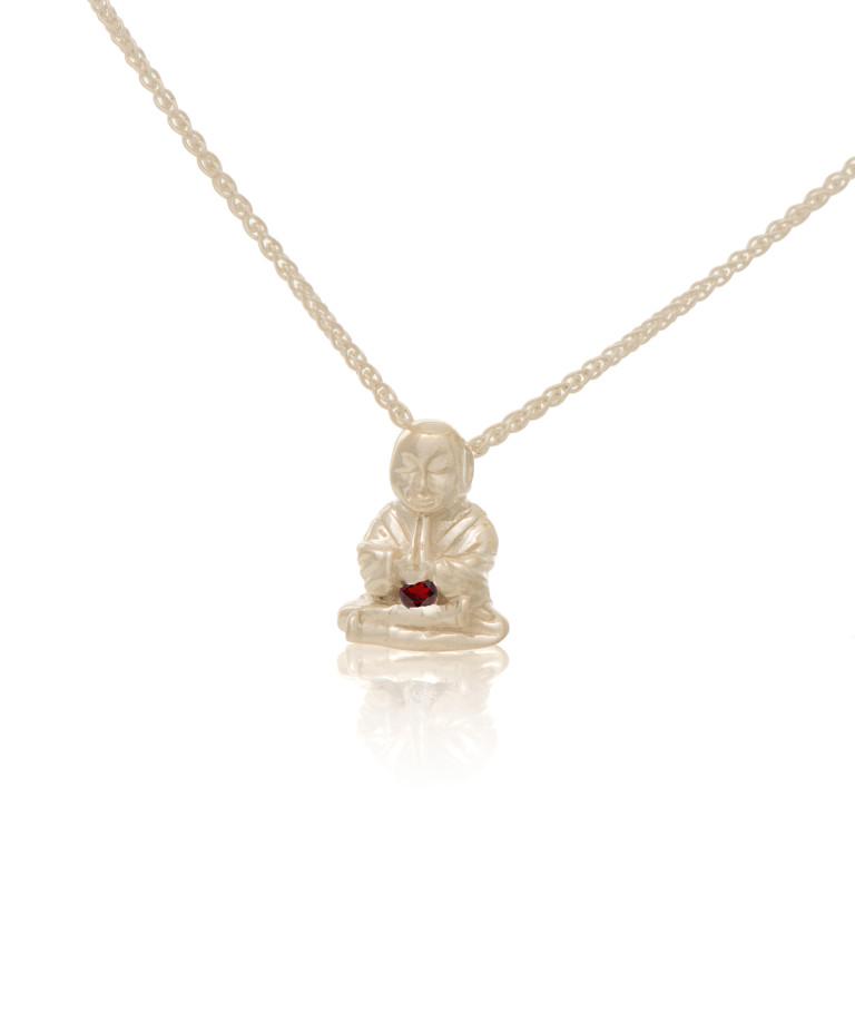 Silver Peaceful Buddha Buddy wth Garnet
