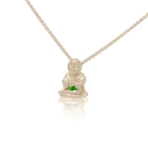 Silver Peaceful Buddha with Green Tourmaline